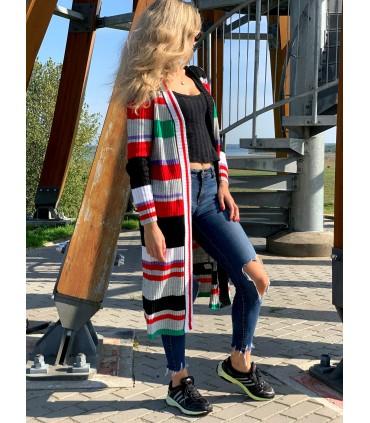 Dryžuotas ilgas megztinis